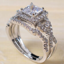 925 Silver White Topaz Princess Cut Halo Wedding Engagement Ring Set Size 6-12