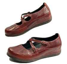 Dansko Womens Size 9.5-10 40 Red Leather Buckle Mary Jane Wedge Shoes