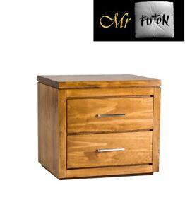 Assembled Osaka 2 Drawer Bedside chest Table Black wood