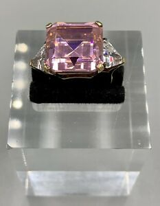 STERLING SILVER 925 PINK TOURMALINE RING SIZE 7 LARGE STONE 12.5 GRAMS