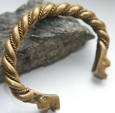Ancient Bronze Twisted Zoomorphic Dragonhead Hand Bracelet