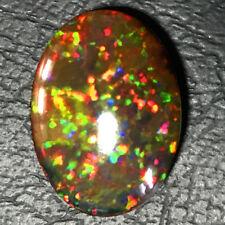 13.6 ct Natural Top Ethiopian Multicolor Fire Black Opal Oval Cabochon Loose Gem