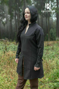 Medieval Cotton Padded Black Color Tunic Women Costume Reenactment