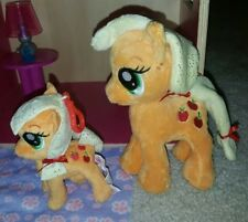 "LOT OF TWO *** My Little Pony 6.5"" AND 4.5"" Clip on Applejack Plush MLP doll"