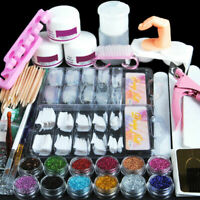 New Acrylic Powder Nail Art Tool Starter Kit-Set Nail Tips Brush File Form DIY