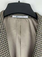 Hickey Freeman Mens Sport Coat 44R Gray/Beige Houndstooth Check Wool/Silk Jacket