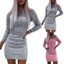 Womens Knitted Winter Mini Jumper Dress Ladies Long Sleeve Bodycon Sweater Dress