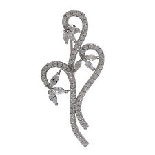 Sterling Silver CZ Floral Bouquet Womens Bridal Pin Brooch