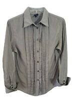 GAP Long Sleeve Button Up Shirt Blouse Pleated Front Pinstripe Top Women's Small
