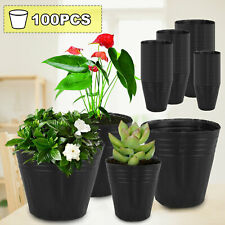 100 PACK NURSERY POTS Outdoor Vegetable Flower Plant Plastic Pot Garden US