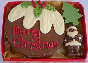 Hand-made Belgian Chocolate Xmas Pudding,Santa & Tree Hamper may be personalised