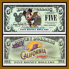 "Disney 5 Dollars, 2001 Series ""AA"" Disneyland California Adventure Unc"