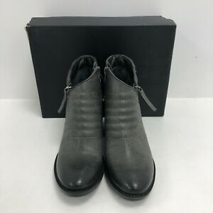 New Clarks Ankle Boots Ladies UK 4 D Grey Leather Block Heel Boxed 291392