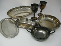Vintage 9 Pc Silverplated Mixed Lot Of Tableware/ Serving Dishes
