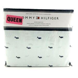 Tommy Hilfiger Sheet Set Queen Whales Blue Stripe 4 Piece 60 / 40 Cotton / Poly