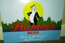 HAMMS BEER BEAR HEAD TIN SIGN LAND OF SKY BLUE WATERS MAN CAVE BAR RARE