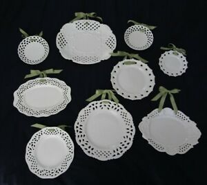 Two's Company White Porcelain Pierced/Reticulated Plates FULL SET of 9!