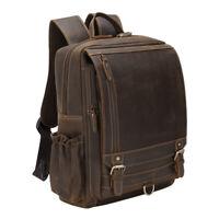 """Men Real Leather Backpack 16"""" Laptop Bag School Bag Satchel Travel Bag Day Pack"""