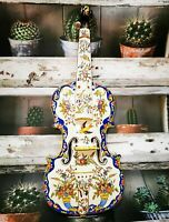 Antique 19thC Fourmaintraux Frères Violin Ceramic Desvres French earthenware FF