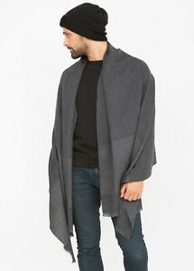 Twill Merino Handwoven Oversize Scarf with Stripes