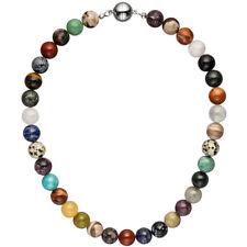 Halskette Kette mit Edelsteinen multcolor bunt 45 cm Steinkette Edelsteinkette