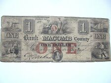 Mt Clemens, Michigan $1 Note, 1855, Macomb County, Very Good
