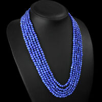 FINEST EVER 388.00 CTS NATURAL 5 LINE BLUE SAPPHIRE ROUND BEADS NECKLACE STRANDS