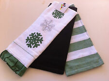 Green Snow Drops Appliqued and Embroidered Set of 3 Tea Towels - 45 x 70cm