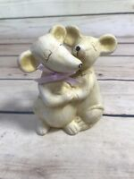Vintage Animal Figures Hugging Yellow Brushed Paint Trinket Table Home Decor