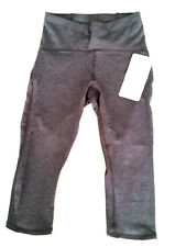 Lululemon Train Time Crop High Rise Size 6 Heathered Black Gray Yoga Casual NWT