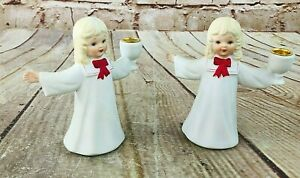 2 vtg caroler choir girl candle holder red bow porcelain Christmas ornament 4.25