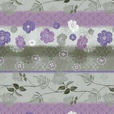 CLEARANCE! Purple Haze Repeating Floral Stripe by Daphne B. for Wilmington BTY
