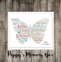Butterfly Personalised Word Art Print Gift Birthday Christmas Friend Keepsake