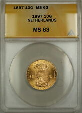 1897 Netherlands 10G Gulden Gold Coin ANACS MS-63