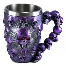 Purple Skulls Mug Beer Stein 12 Oz. Stainless Steel Interior New In Box!