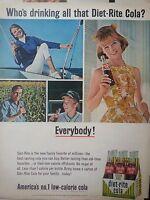 1965 Diet-Rite Sugar Free Cola Soda Carton Bottles Everybody Whos Drinking Ad