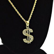 "Dollar $ Sign Iced-Out Micro Pendant Hip Hop Chain Gold Tone 24"" Rope Necklace"