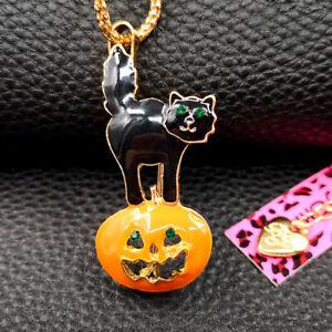 Betsey Johnson Enamel Halloween Pumpkin Cat Pendant Chain Necklace/Brooch Pin