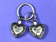 "Pet Cremation Pendant Urn Keychain 1"" Key Ring Dog Cat Ashes Always in my Heart"