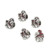 5pcs Antique Silver Charms Christmas Santa Claus Beads Fit European Bracelet