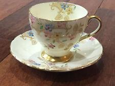 Vintage EB Foley English Porcelain Cup & Saucer w/ Gold & Floral Decoration