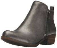 Lucky Brand Womens Basel Leather Almond Toe Ankle Fashion, Pewter Rock, Size  5y