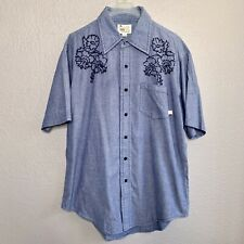VTG Paul Frank Shirt Button Down Chambray Denim Embroidered Men's Size L EUC