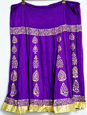 Ira Soleil Skirt XXL Drawstring Purple Gold Mid Calf Flowy Dance Women