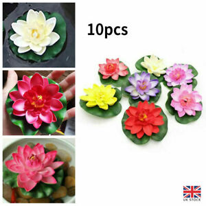 10Pcs Artificial Fake Lotus-Leaf Flowers Water Lily Floating Pool Plants Decor