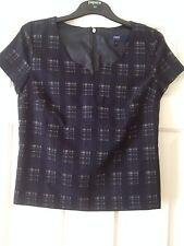 Ladies short sleeved Top - Size 10 - NEXT - Navy/grey - VGC