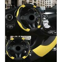 PU Leatherette Black & Yellow Non-slip Sweat Breathable Car Steering Wheel Cover