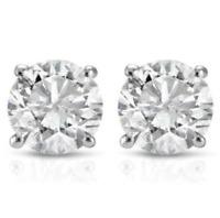 0.63 CTW Diamond Studs Earrings14k White Gold Push Back Natural Round Cut 4.3MM