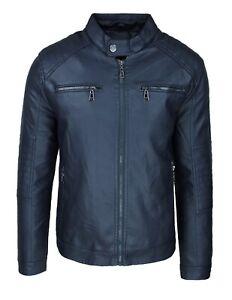 Giubbotto giacca uomo blu scuro ecopelle giubbino bomber casual moto