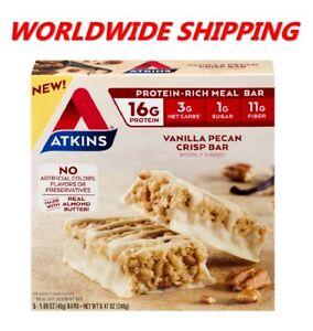 Atkins Vanilla Pecan Crisp Protein Rich Meal Bar 8.47 Oz 5 Ct WORLD SHIPPING